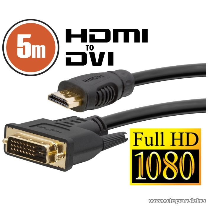 neXus DVI-D / HDMI kábel, 5 m, aranyozott csatlakozóval (20382)