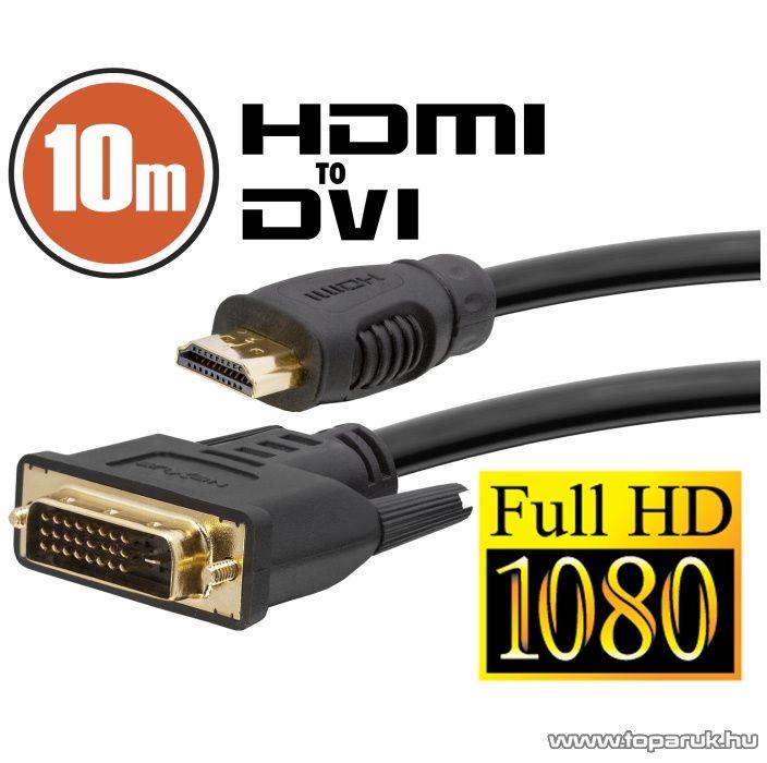 delight DVI-D / HDMI kábel, 10 m, aranyozott csatlakozóval (20383)