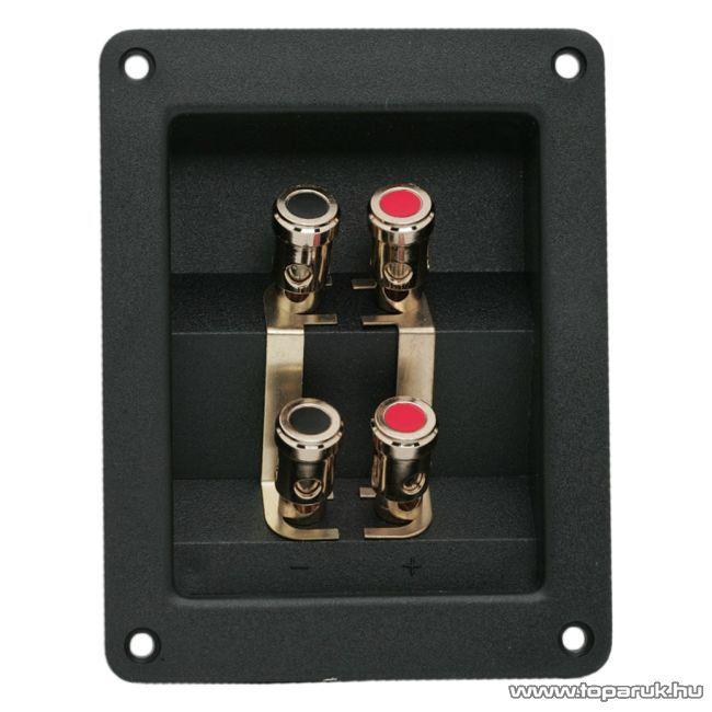 2 x 2-es hangszóró aljzat csatlakozó, beépíthető, aranyozott, csavaros (05265) - készlethiány