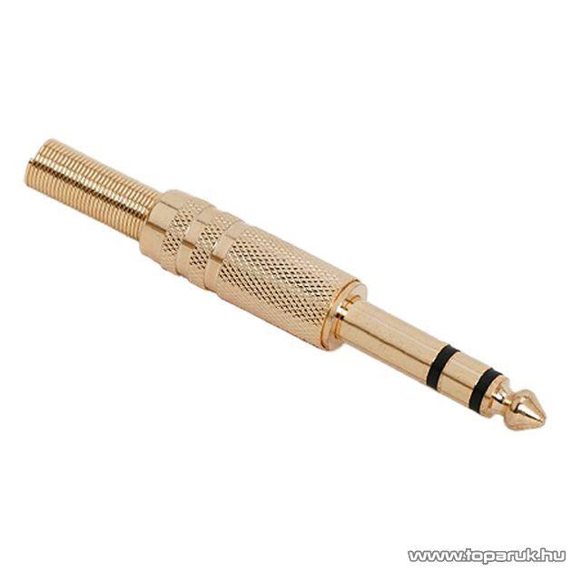 JACK dugó, aranyozott, sztereo, 6,3 mm, 5 db / csomag (05119)