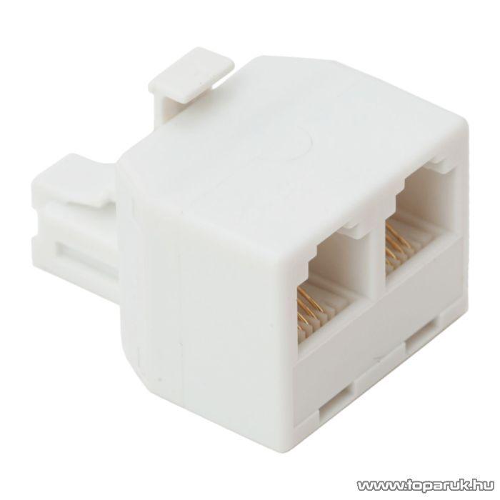 6P4C Y elosztó, 1 dugó - 2 aljzat, fehér, 10 db / csomag (05219)