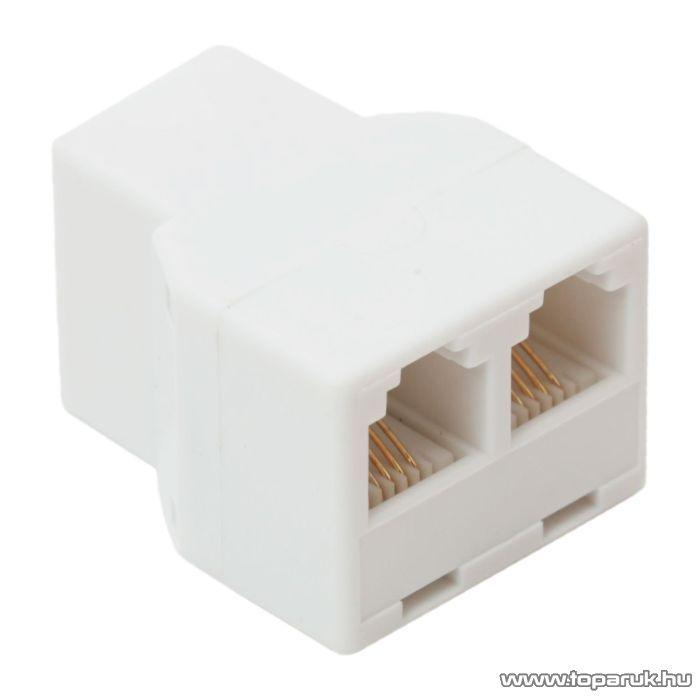 6P4C Y elosztó, 1 aljzat - 2 aljzat, fehér, 5 db / csomag (05218)