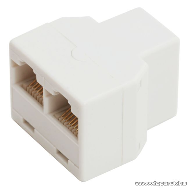 8P8C Y elosztó, 1 aljzat - 2 aljzat, fehér, 10 db / csomag (05386)