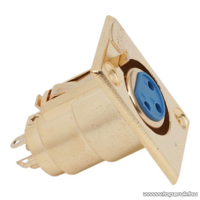 XLR aljzat csatlakozó, 3 pólusú, beépíthető, aranyozott, 2 db / csomag (05199)