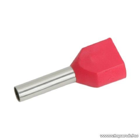 Érvéghüvely, 2 x 1,0 mm2-es vezetékekhez, piros, 100 db / csomag (05722)