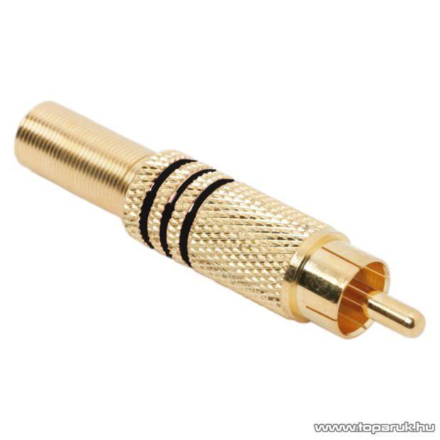 RCA dugó, aranyozott, max. 6 mm-es kábelhez, fekete, 10 db / csomag (05084FK)