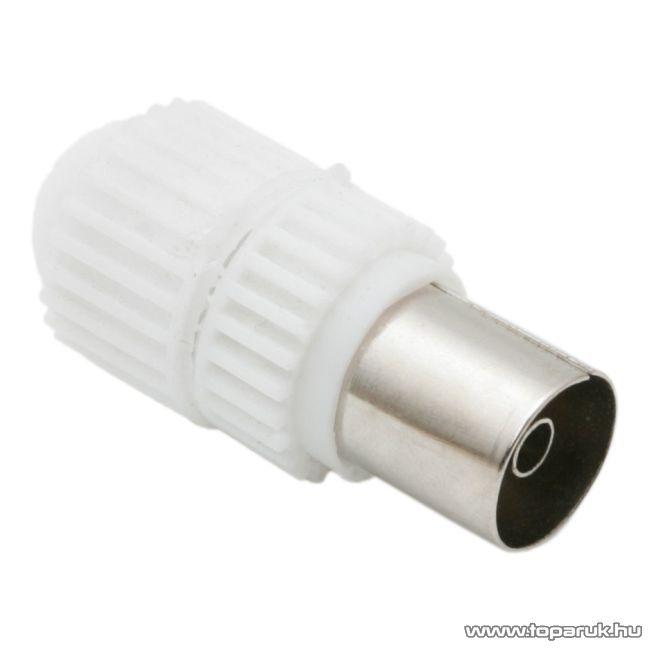 TV koax aljzat csatlakozó, rövid kivitel, fehér, 10 db / csomag (05005)