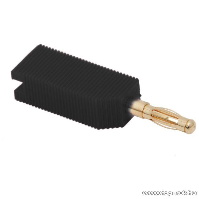 Banán dugó, aranyozott, csatlakozás max. 4mm-es kábelhez, fekete, 10 db / csomag (05171FK)