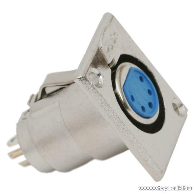 XLR aljzat csatlakozó, 5 pólusú, beépíthető, fém, 2 db / csomag (05249)