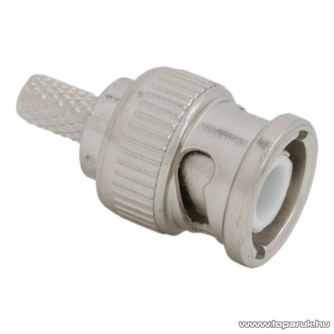 BNC dugó / csatlakozó, RG 58 koax kábel-hez, 50 ohm, krimpelős, aranyozott tüske, 10 db / csomag (05055)