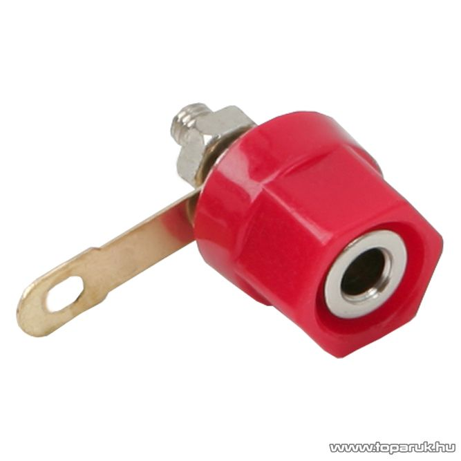 Banán aljzat csatlakozó, beépíthető, műanyag ház, piros, 2 db / csomag (05473PI)