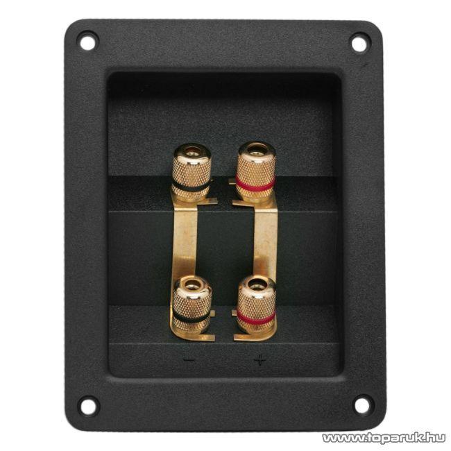 2 x 2-es hangszóró aljzat csatlakozó, beépíthető, aranyozott, csavaros (05264) - készlethiány