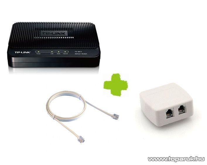 TP-LINK TD-8816A ADSL2+ 1 portos Modem Router + Splitter Annex A (ADSL Kezdőcsomag) - megszűnt termék: 2015. január