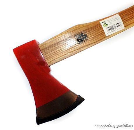 Fejsze, 70 cm-es fa nyéllel, kovácsolt, piros