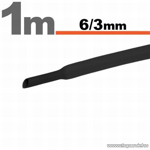 Zsugorcső, fekete, 6 / 3 mm, 10 m / csomag (11022F)