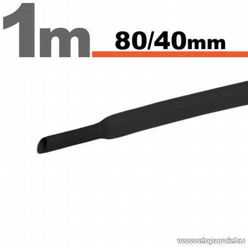 Zsugorcső, fekete, 80 / 40 mm, 2 m / csomag (11033F)